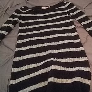 Juicy Couture Black/Gray Striped Sweater Size L